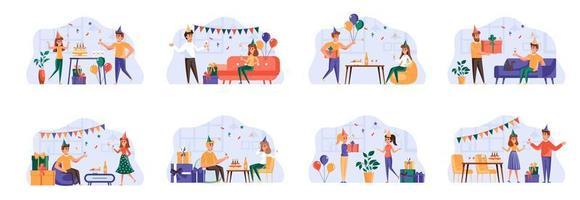 Paquete de escenas de fiesta con personajes de personas. vector