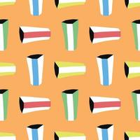 Vector seamless texture background pattern. Hand drawn, colored, orange background.