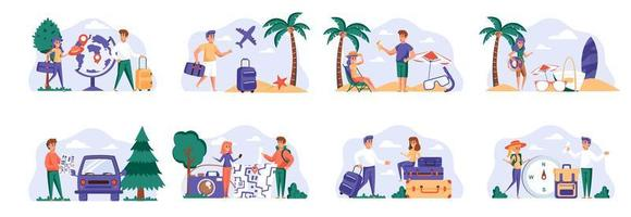 Travel vacation scenes bundle with people characters. vector