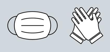 mascarilla y guantes vector