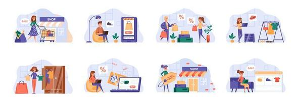 Shopping scenes bundle with people characters. vector