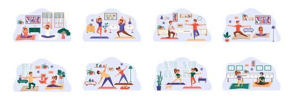 paquete de yoga de escenas con personajes de personas planas.
