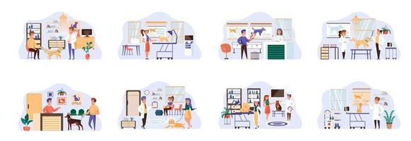 Veterinary clinic bundle of scenes with flat people characters.