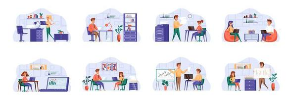 Office management scenes bundle with people characters. vector