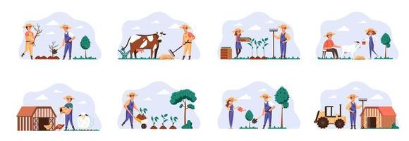 Farmers scenes bundle with people characters. vector