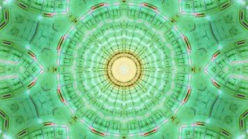 Caleidoscópio estrela verde amarelo intermitente ilustração 3D loop vj video