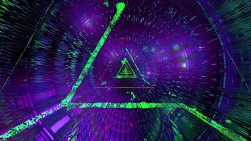 Boucle vj illustration 3d filaire triangle vert brillant video