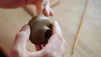 Hands of A Man Sculpting an Earthenware Bowl video