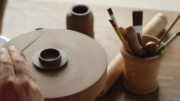 Potter Makes a Lid for A Clay Teapot