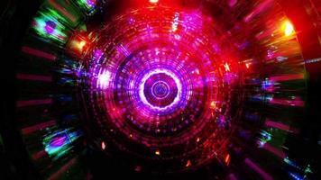 reflexão abstrata luzes de néon cores brilhantes ilustração 3d vj loop video