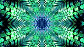 Blinking green and blue star shaped 3d illustration vj loop