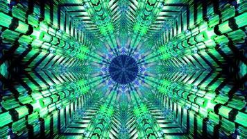 Parpadeo verde y azul en forma de estrella 3d ilustración vj loop