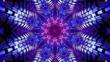 Boucle vj illustration 3d tunnel bleu et rose en forme d'étoile clignotante