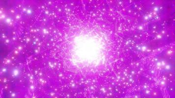 rosa brillante incandescente fantascienza spazio particella galassia 3d illustrazione vj loop video