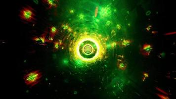Cool green tech tunnel with glowing neon particles 3d illustration vj loop