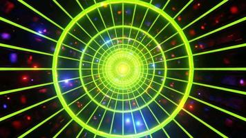 Yellow space tunnel with glowing blinking lights 3d illustration vj loop