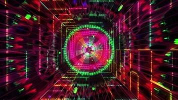 túnel de ficção científica de néon brilhante redondo ilustração 3d vj loop