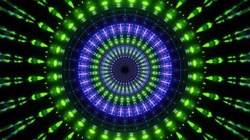 Round rotating neon lights 3d illustration vj loop
