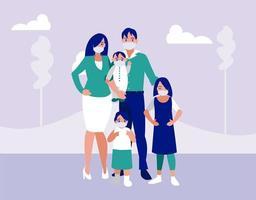 familia con máscaras en el diseño del vector del parque