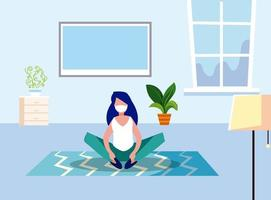 Woman with mask at home vector design