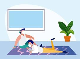 Men with masks relaxing at home vector design