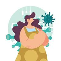mujer con síntomas de enfermedad por coronavirus