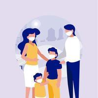 Familia con máscaras en el parque frente al diseño vectorial de la ciudad