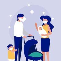 familia con máscaras frente a círculo diseño vectorial