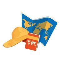 mapa de papel con libro de atlas y sombrero femenino