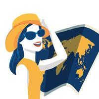 mujer con sombrero de verano y mapa de papel vector
