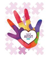world autism day with hand and puzzle pieces