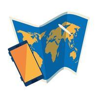 Mapa de papel con icono aislado de smartphone