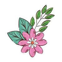 Linda flor rosa con rama y hojas icono aislado