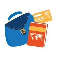 bolso de mujer con libro atlas y tarjeta de crédito vector