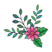 cute flower pink color with branches and leafs