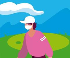 avatar de hombre con máscara fuera de diseño vectorial