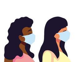 Women with masks vector design