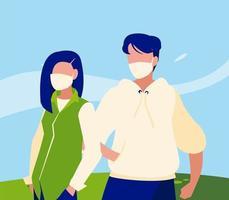 Avatar de mujer y hombre con máscara fuera de diseño vectorial