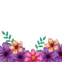 lindas flores rosadas y moradas con hojas