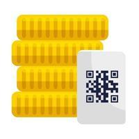 monedas y código qr sobre diseño vectorial de papel