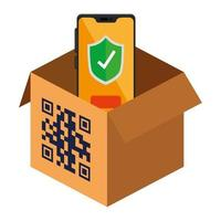 qr code over box and smartphone vector design