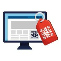 qr code inside computer and label vector design