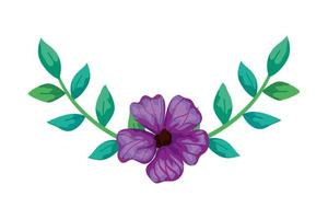 cute flower purple with branches and leafs isolated icon