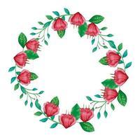 marco circular de flores rojas con ramas y hojas