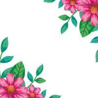 Marco de flores de color rosa con hojas naturales.