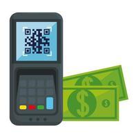 código qr dentro de datáfono y diseño vectorial de facturas