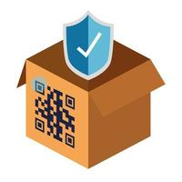 qr code over box and shield vector design