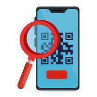 código qr dentro de smartphone y lupe vector design