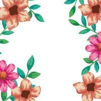 marco de flores con ramas y hojas