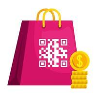 Código qr sobre diseño de vector de bolsa y monedas